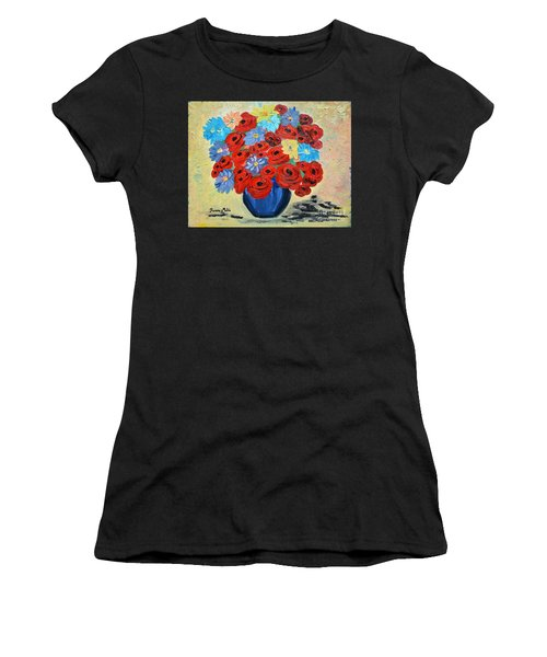 Red Poppies And All Kinds Of Daisies  Women's T-Shirt (Athletic Fit)