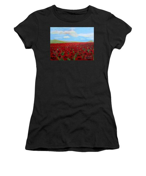 Red Poppies In Remembrance Women's T-Shirt