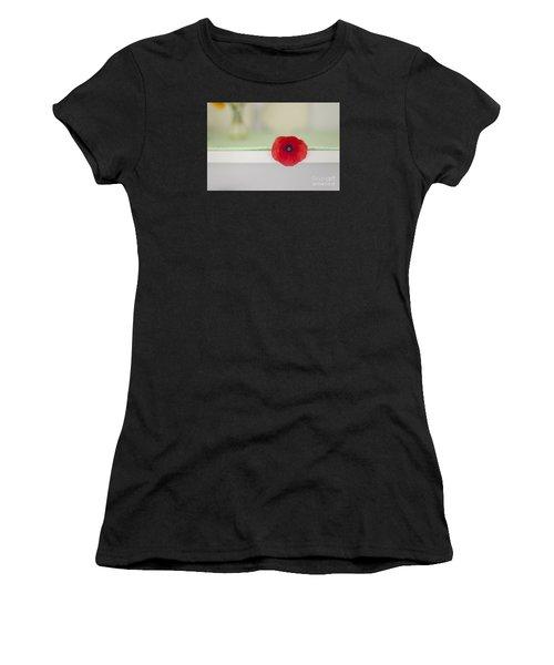 Red Poppy On Windowsill Women's T-Shirt (Athletic Fit)
