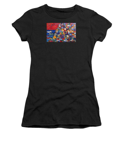 Red Positano Italy Women's T-Shirt (Athletic Fit)