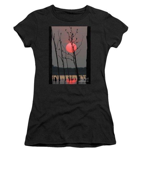 Red Rise Cormorants Women's T-Shirt (Junior Cut) by Roger Becker