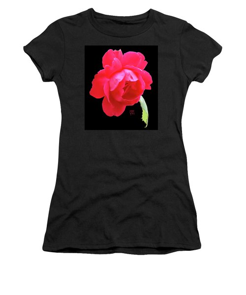 Red Rose Cutout Women's T-Shirt (Athletic Fit)