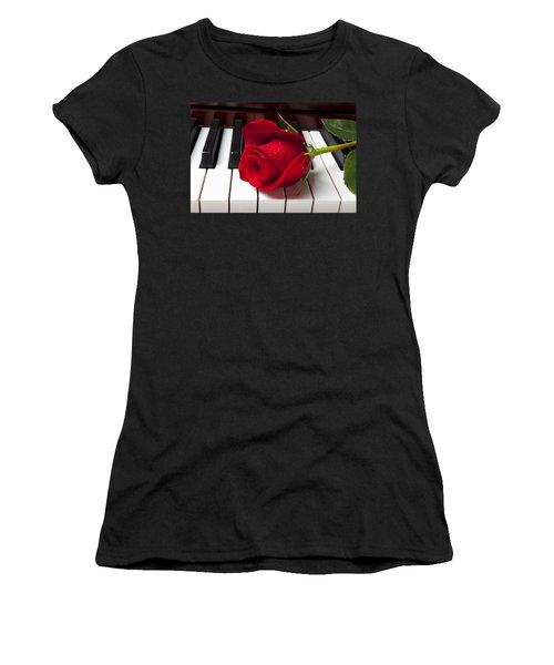 Red Rose On Piano Keys Women's T-Shirt