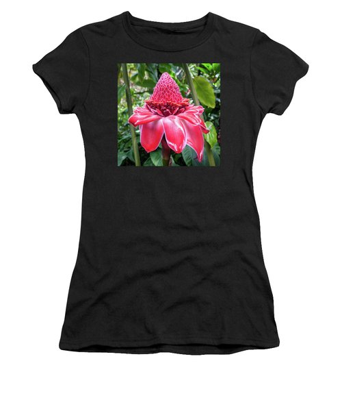 Women's T-Shirt (Athletic Fit) featuring the photograph Red Torch Ginger Flower by Denise Bird
