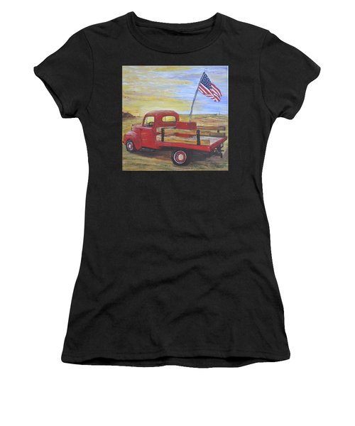 Red Truck Women's T-Shirt (Athletic Fit)