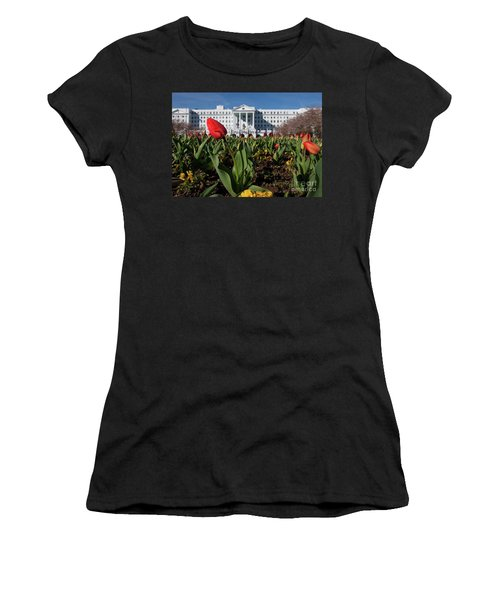 Women's T-Shirt (Junior Cut) featuring the photograph Red Tulip At The Greenbrier by Laurinda Bowling