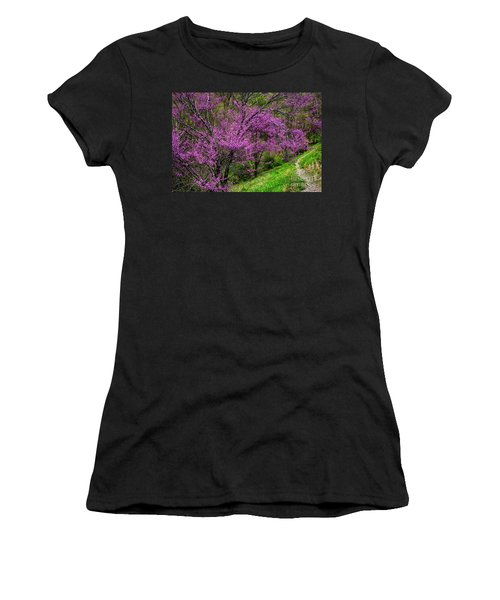 Women's T-Shirt (Junior Cut) featuring the photograph Redbud And Path by Thomas R Fletcher
