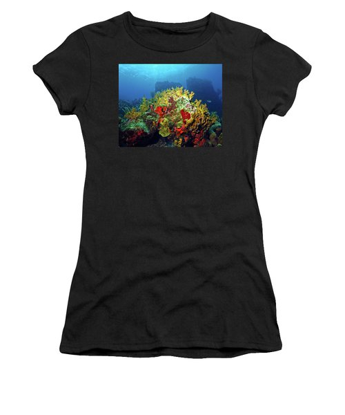 Reef Scene With Divers Bubbles Women's T-Shirt