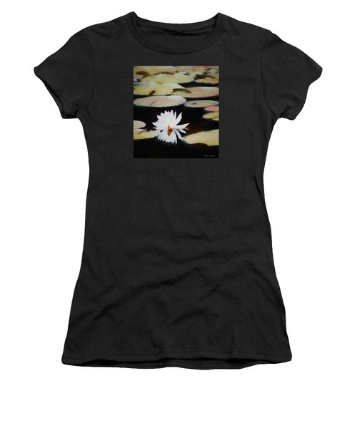 Women's T-Shirt (Junior Cut) featuring the painting Reflection Pond by Debra     Vatalaro