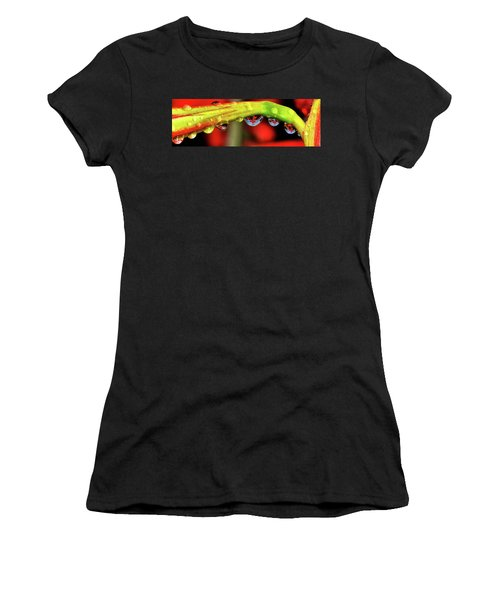 Reflections - Flowers In A Raindrop 001 Panorama Women's T-Shirt (Athletic Fit)