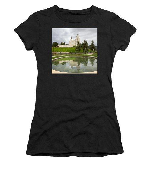 Reflections Of The Manti Temple At Pioneer Heritage Gardens Women's T-Shirt