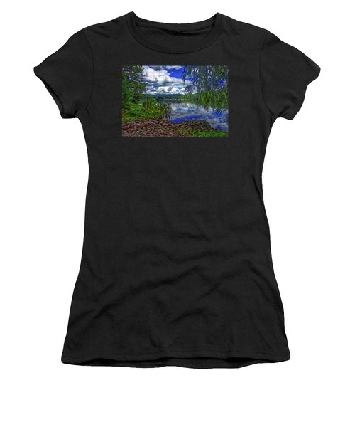 Women's T-Shirt featuring the painting Reflective Lake by Joan Reese