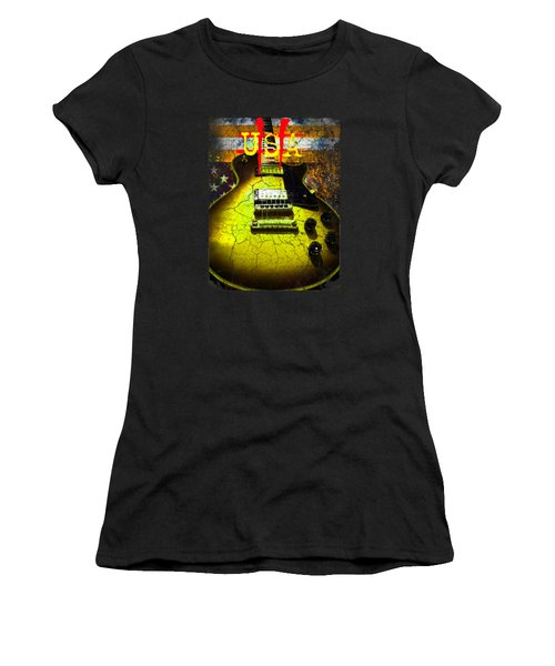 Women's T-Shirt (Athletic Fit) featuring the photograph Relic Guitar Music Patriotic Usa Flag by Guitar Wacky