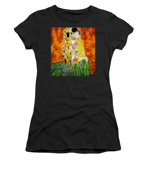Reproduction Of The Kiss By Gustav Klimt Women's T-Shirt (Athletic Fit)
