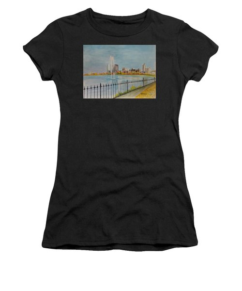 Reservoir In Central Park Women's T-Shirt (Athletic Fit)