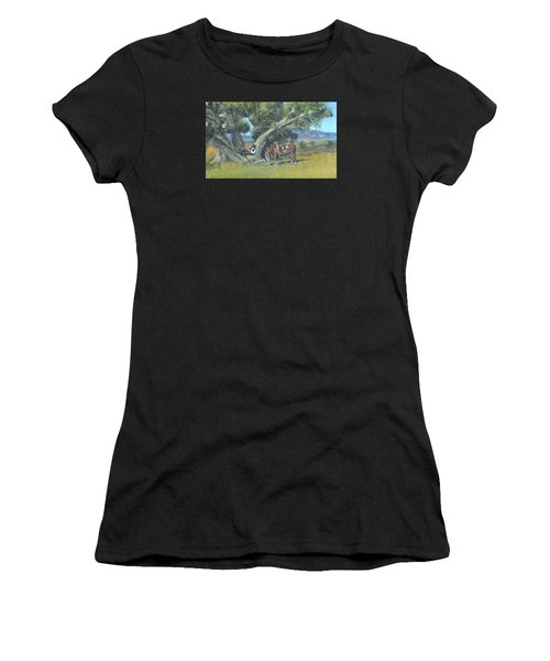 Women's T-Shirt featuring the painting Resting Cowboy Painting A Study by Katalin Luczay