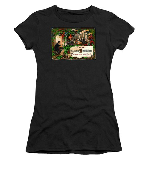 Women's T-Shirt (Junior Cut) featuring the photograph Retro Printing Ad 1867 by Padre Art