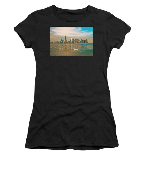 Women's T-Shirt (Athletic Fit) featuring the digital art Retro Style Skyline Of New York City, United States by Anthony Murphy
