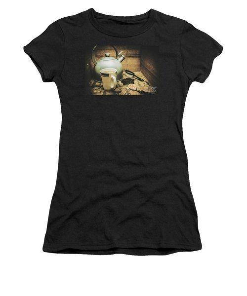 Retro Vintage Toned Tea Still Life In Crate Women's T-Shirt