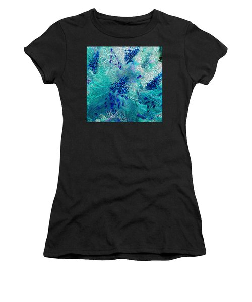 Rhododendron Turquoise Lace Women's T-Shirt (Athletic Fit)