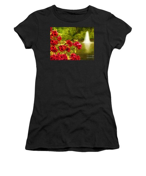 Painted Rhododendrons Fountain In Pond   Women's T-Shirt (Athletic Fit)