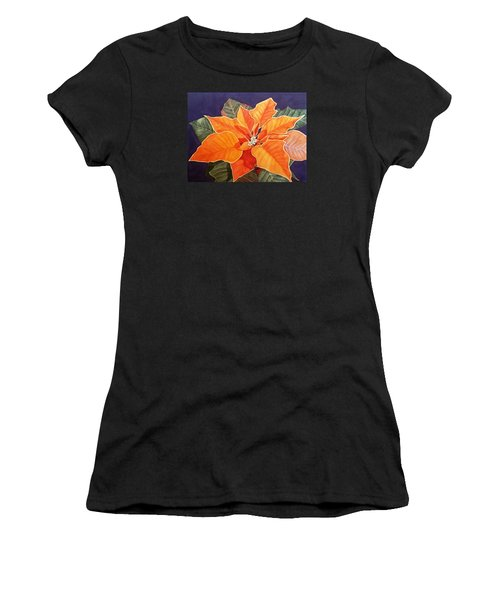 Ribbon Candy Poinsettia Women's T-Shirt (Athletic Fit)