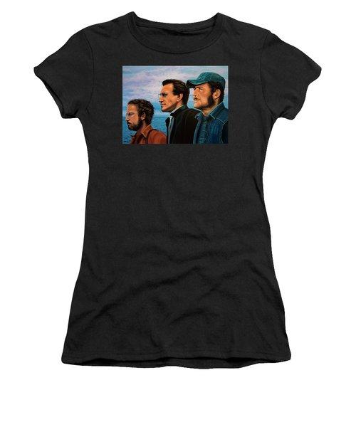 Jaws With Richard Dreyfuss, Roy Scheider And Robert Shaw Women's T-Shirt (Junior Cut) by Paul Meijering