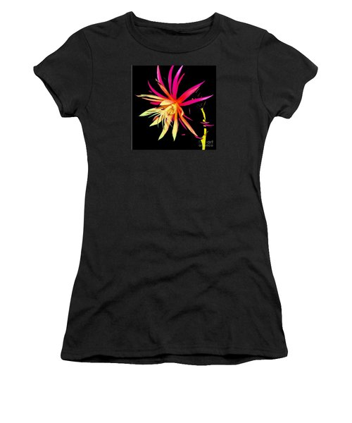 Rick Rack Fern In Black Women's T-Shirt (Athletic Fit)