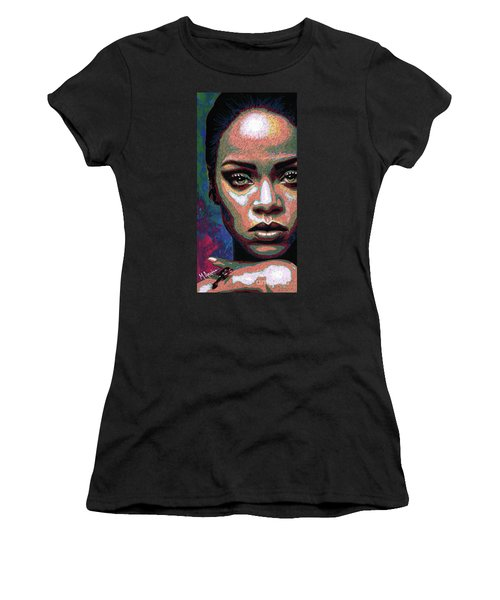 Rihanna Women's T-Shirt (Junior Cut) by Maria Arango