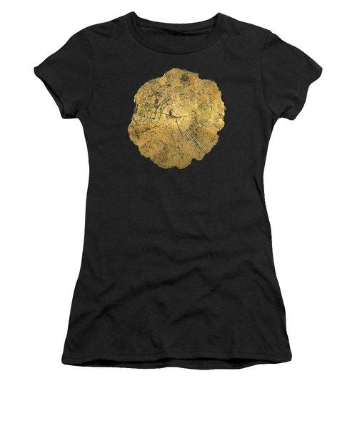 Rings Of A Tree Trunk Cross-section In Gold On Linen Beige Women's T-Shirt