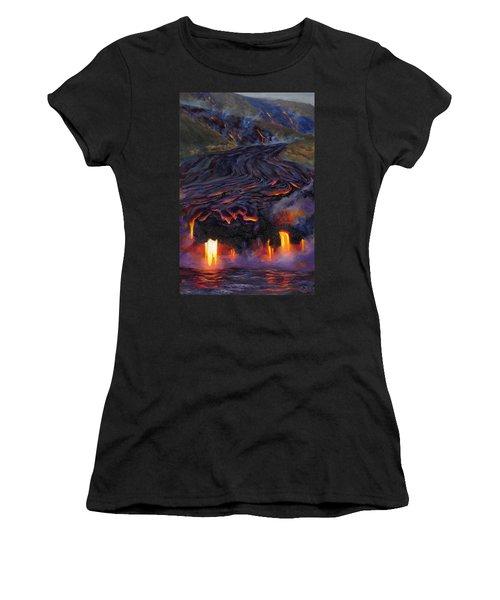 River Of Fire - Kilauea Volcano Eruption Lava Flow Hawaii Contemporary Landscape Decor Women's T-Shirt