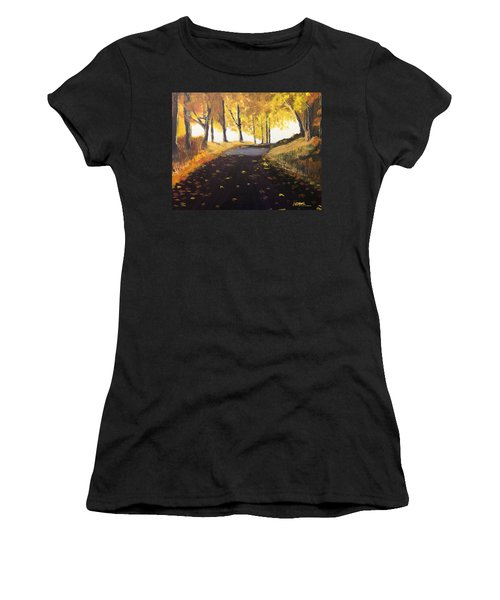 Road In Autumn Women's T-Shirt (Athletic Fit)