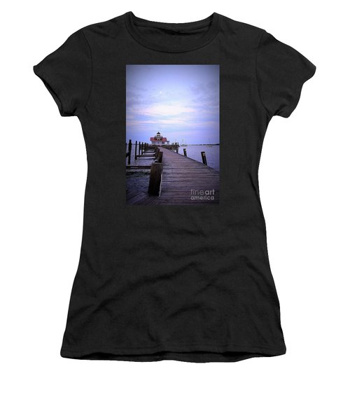 Full Moon Over Roanoke Marshes Lighthouse Women's T-Shirt (Junior Cut) by Shelia Kempf