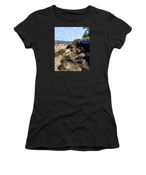 Rock Wall Looking South On Ten Pound Island, Gloucester, Ma Women's T-Shirt (Athletic Fit)