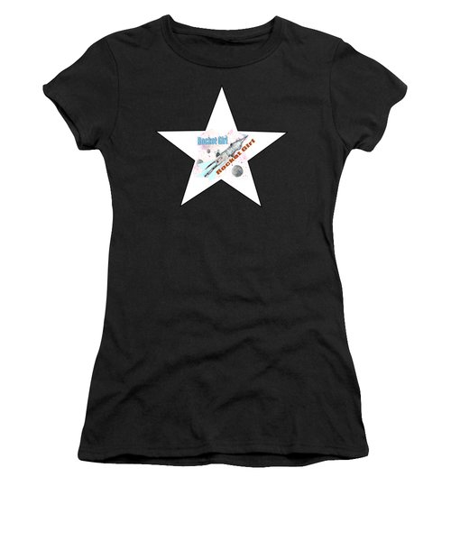 Rocket Girl With Star Women's T-Shirt (Junior Cut) by Tom Conway