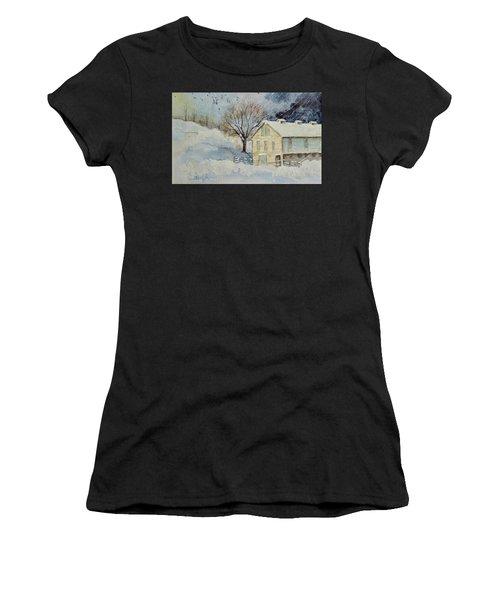 Rockville Farm In Snowstorm Women's T-Shirt