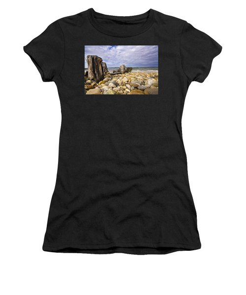 Rocky Beach In Springs Ny Women's T-Shirt (Athletic Fit)