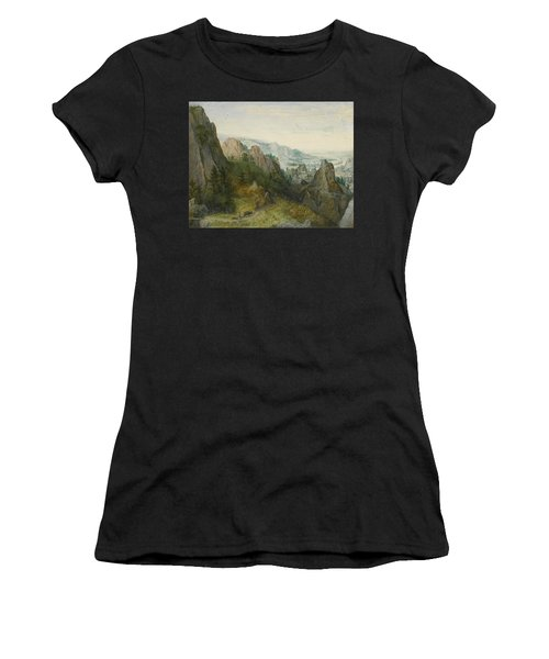 Rocky Landscape With Travellers Women's T-Shirt