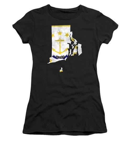 Rode Island Map Art With Flag Design Women's T-Shirt