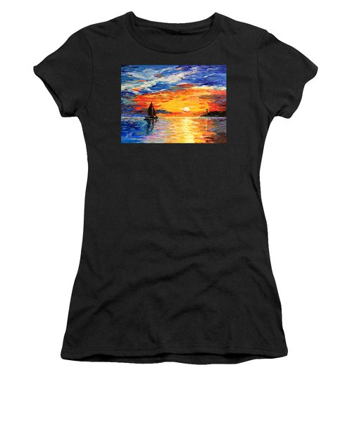 Women's T-Shirt (Athletic Fit) featuring the painting Romantic Sea Sunset by Georgeta  Blanaru
