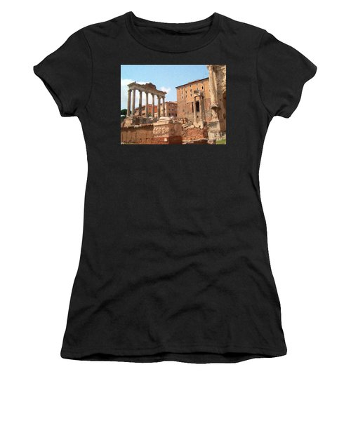 Women's T-Shirt featuring the mixed media Rome The Eternal City And Temples by Rosario Piazza