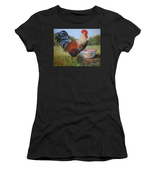 Rooster And Bowl I Women's T-Shirt (Athletic Fit)