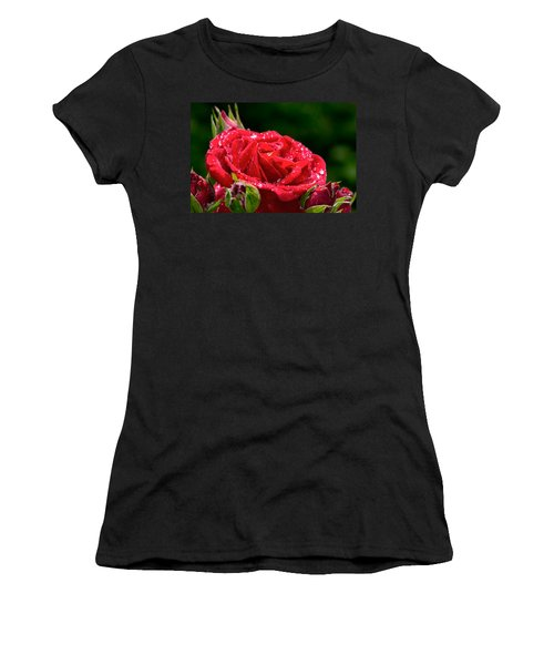 Women's T-Shirt (Junior Cut) featuring the photograph Rose After Rain by Leif Sohlman