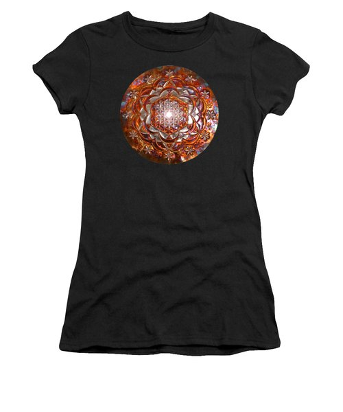 Women's T-Shirt featuring the sculpture Rose Of Life Copper Lightmandala by Robert Thalmeier