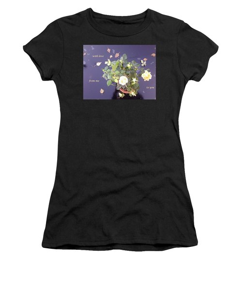 Rose On Glass Table With Loving Wishes Women's T-Shirt