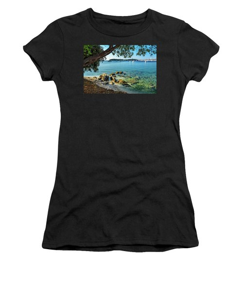 Rovinj Old Town, Harbor And Sailboats Accross The Adriatic Through The Trees Women's T-Shirt