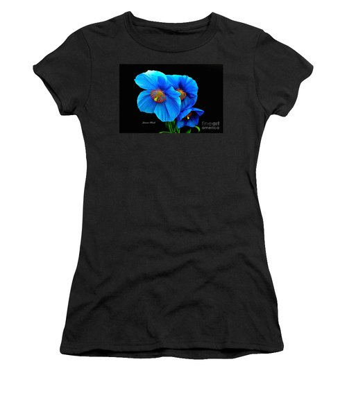 Royal Blue Poppies Women's T-Shirt (Athletic Fit)