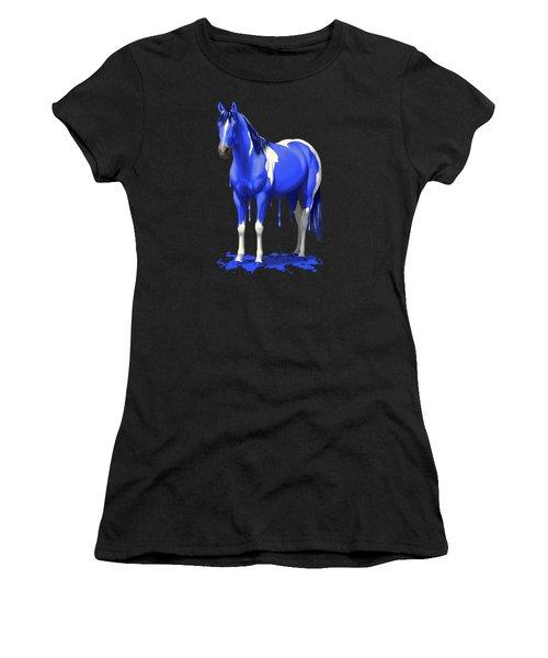 Royal Blue Wet Paint Horse Women's T-Shirt (Athletic Fit)
