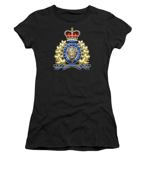 Royal Canadian Mounted Police - Rcmp Badge On Black Leather Women's T-Shirt (Junior Cut) by Serge Averbukh