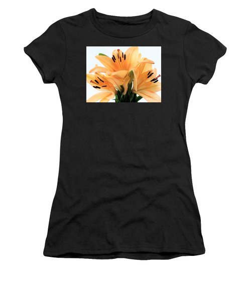 Women's T-Shirt (Junior Cut) featuring the photograph Royal Lilies Full Open - Close-up by Ray Shrewsberry